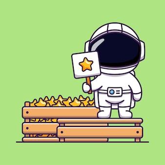緑に分離された星を売るかわいい宇宙飛行士