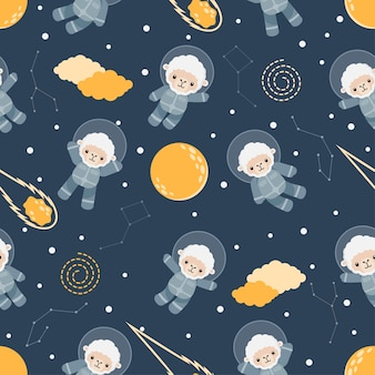 Cute astronaut sheep animal cartoon seamless pattern