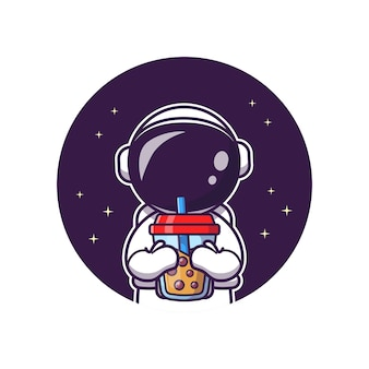 ボバミルクティー漫画ベクトルアイコンイラストをすすりながらかわいい宇宙飛行士。科学の食べ物や飲み物のアイコン