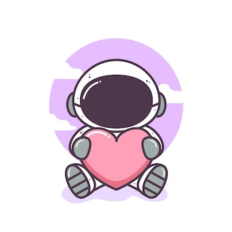 Cute astronaut sit and hug a heart illustration