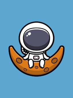 Cute astronaut sitting on moon cartoon  icon illustration