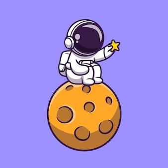 달에 앉아서 스타 만화 아이콘 그림을 들고 귀여운 우주 비행사. 과학 기술 아이콘 개념입니다. 플랫 만화 스타일