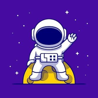 月に座って、手の漫画のアイコンのイラストを振ってかわいい宇宙飛行士。科学技術アイコン分離。フラット漫画スタイル