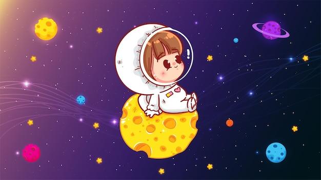 惑星科学技術の概念漫画アートイラストに座っているかわいい宇宙飛行士