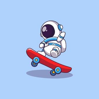 Cute astronaut skaterboard