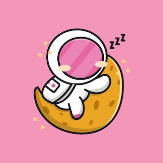 Cute astronaut sleeping on the moon cartoon illustration