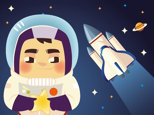 Милый космонавт космический корабль и планета мультфильм космическая иллюстрация
