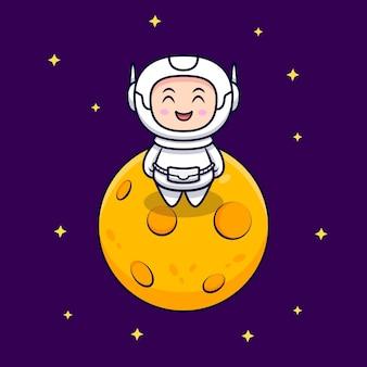 Милый космонавт стоять на иллюстрации шаржа луны. плоский мультяшном стиле