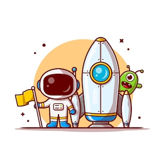 Cute astronaut standing holding flag with rocket and cute alien space cartoon icon illustration.
