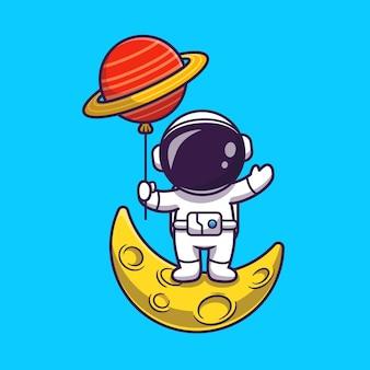 月に立って惑星バルーンイラストを保持しているかわいい宇宙飛行士