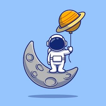 달 만화 일러스트 레이 션에 서있는 귀여운 우주 비행사.