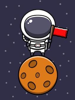 Симпатичный космонавт, стоящий на луне с флагом, мультяшный значок иллюстрации