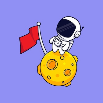 Симпатичный космонавт, стоя на луне мультяшныйа. плоский мультяшном стиле