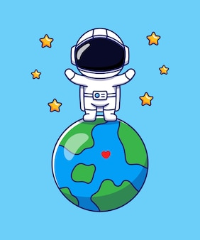 Cute astronaut standing on planet earth