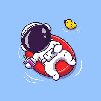 風船漫画イラストとビーチに浮かぶかわいい宇宙飛行士の夏。科学夏のコンセプト。フラット漫画スタイル