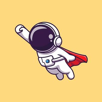 Simpatico astronauta super flying cartoon illustration