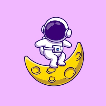 Симпатичный космонавт, серфинг на луне мультфильм векторные иллюстрации.