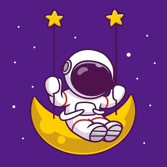 Cute astronaut swing on the moon cartoon icon illustration. people science space icon concept isolated premium . flat cartoon style