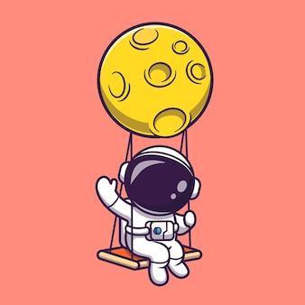 Cute astronaut swing on moon and waving hand illustration