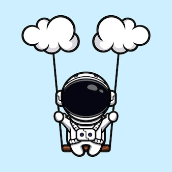 雲のマスコットデザインで揺れるかわいい宇宙飛行士