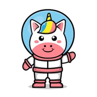 Cute astronaut unicorn cartoon animal space concept illustration