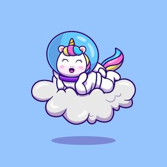 Милый космонавт единорог, лежа на облаке мультфильм