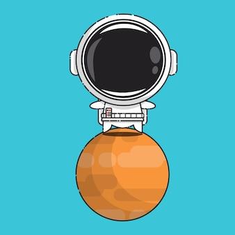Cute astronaut on venus isolated on blue