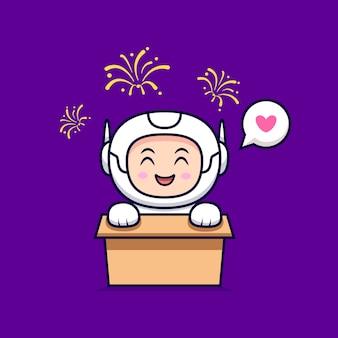 Симпатичный космонавт смотрит иллюстрации шаржа фейерверк. плоский мультяшном стиле