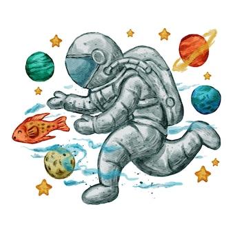 かわいい宇宙飛行士の水彩イラスト