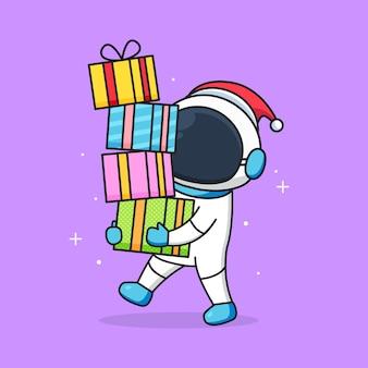 かわいい宇宙飛行士がサンタの帽子をかぶって賞品を持ってきます