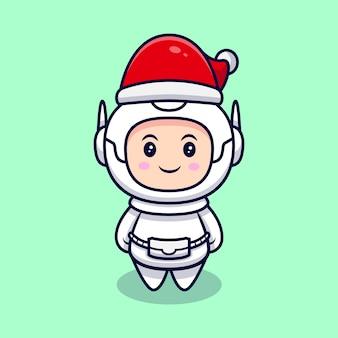 クリスマスの帽子の漫画イラストを身に着けているかわいい宇宙飛行士。フラット漫画スタイル