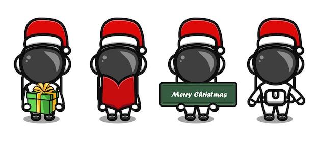 Cute astronaut wearing christmas hat cartoon set