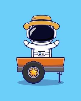 트럭과 밀짚 모자를 쓰고 귀여운 우주 비행사