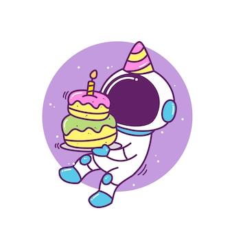생일 케이크와 함께 귀여운 우주 비행사