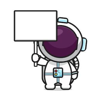 Cute astronaut with blank board cartoon icon vector illustration.design isolated on white. flat cartoon style.