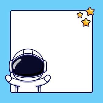 Милый космонавт с пустой доской для текста
