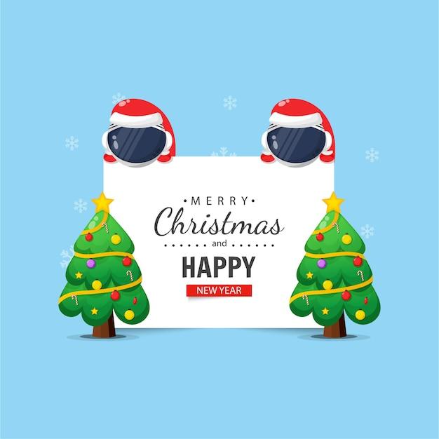 クリスマスと新年の願いを込めてかわいい宇宙飛行士