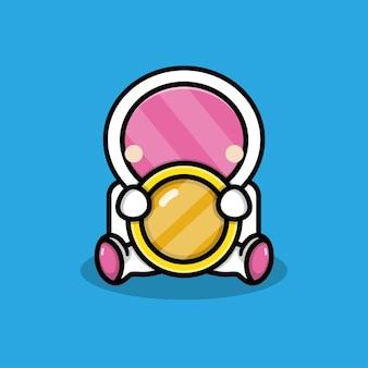 동전 일러스트와 함께 귀여운 우주 비행사