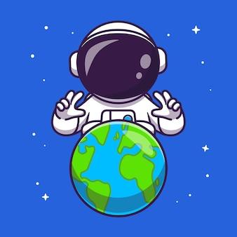공간 만화 벡터 아이콘 그림에서 지구와 귀여운 우주 비행사. 기술 과학 아이콘 개념 절연 프리미엄 벡터입니다. 플랫 만화 스타일