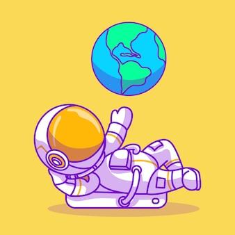 지구 벡터 일러스트와 함께 귀여운 우주 비행사