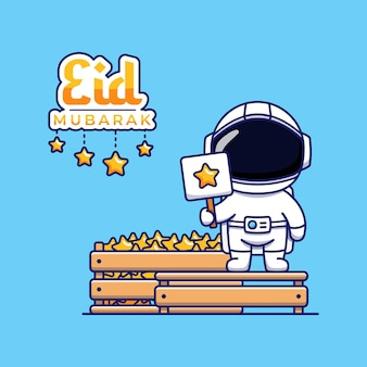 Cute astronaut with eid mubarak greeting