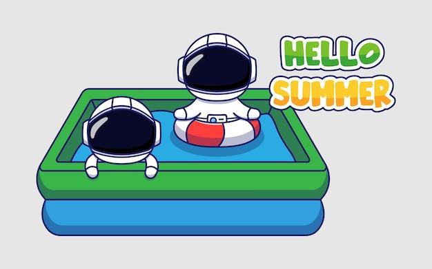 Милый космонавт с приветственным летним поздравительным баннером