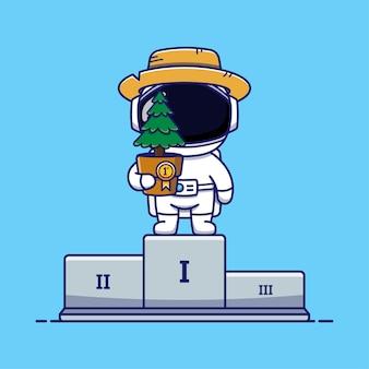 植物を持ったかわいい宇宙飛行士が一等賞を受賞