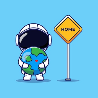 Cute astronaut with home sign