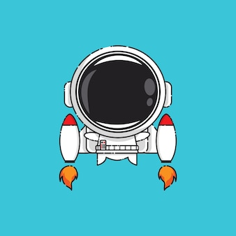 Cute astronaut with jet isolated on blue