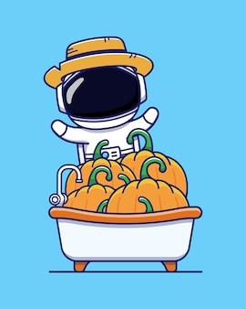 많은 호박과 귀여운 우주 비행사