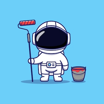 Cute astronaut with paint equipment