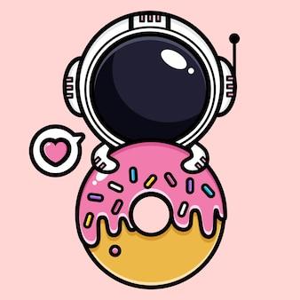 Милый космонавт с розовым десертом
