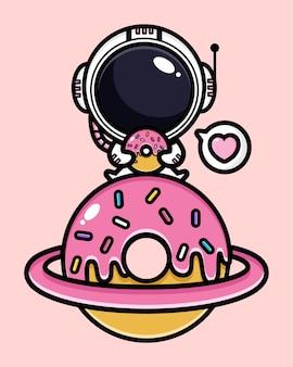 핑크 디저트와 함께 귀여운 우주 비행사