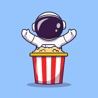 Cute astronaut with popcorn cartoon vector icon illustration. science food icon